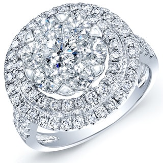 14k White Gold 2 1/2ct TDW Diamond Double Halo Engagement Ring (H-I,VS1-VS2)