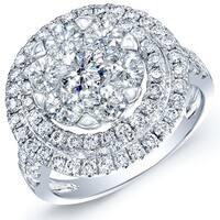 14k White Gold 2 1/2ct TDW Diamond Double Halo Engagement Ring