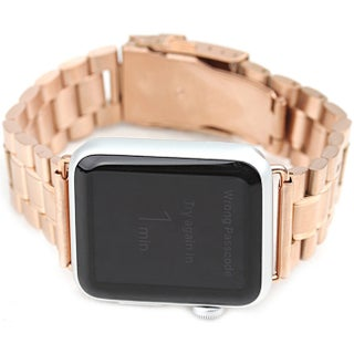 iPM Stainless Steel 42mm Replacement Link Watch Band for Apple Watch (Option: Gold)