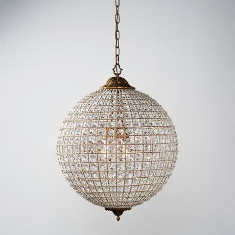 Kimberly Crystal 3-Light 24-Inch Large Globe Chandelier by Kosas Home