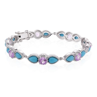 Sterling Silver Sleeping Beauty Turquoise and Amethyst Line Bracelet