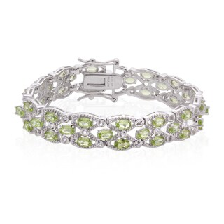 Sterling Silver 10 1/2ct TGW Peridot and White Topaz Line Bracelet