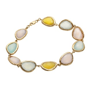14k Gold over Silver Vermeil Checkerboard Chalcedony Bracelet