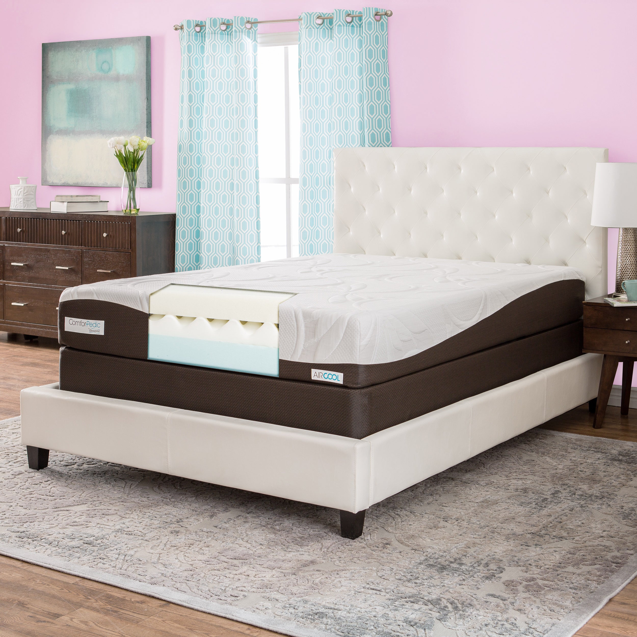 detailed look e3ce4 a22bf ComforPedic from Beautyrest 10-inch Memory Foam Mattress Set - Brown/White