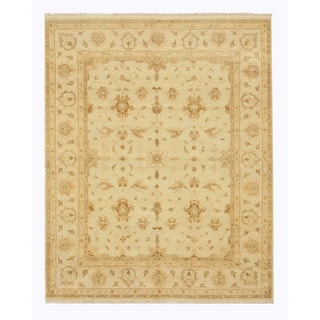 EORC Hand Knotted Wool Ivory Peshawar Rug (8' x 10')