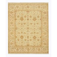 Hand-knotted Wool Ivory Traditional Oriental Peshawar Rug - 8' x 10'