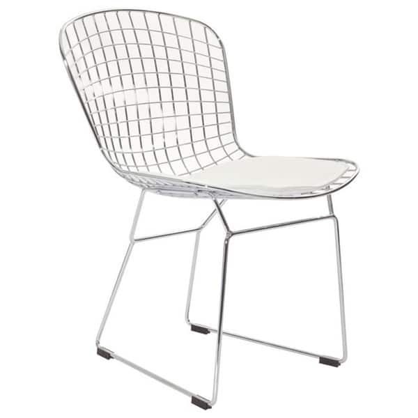 Swell Modern Contemporary Wire Dining Chairs With White Cushion Set Of 4 Creativecarmelina Interior Chair Design Creativecarmelinacom
