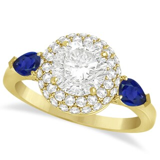 14k Gold Pear Sapphire & Round Diamond Halo Engagement Ring 1.70ct