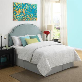 Dorel Living Skylar Turquoise Linen Headboard with Nailheads