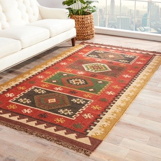 Manzana Handmade Geometric Red/ Gold Area Rug (9' X 12')