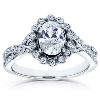 Annello by Kobelli 14k White Gold 1ct TDW Oval Diamond Antique Engagement Ring (H-I, I2)