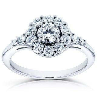 Annello by Kobelli 14k White Gold 3/4ct TDW Round Diamond Halo Engagement Ring