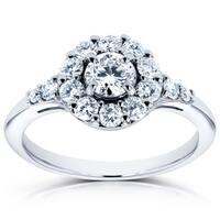 Annello by Kobelli 14k White Gold 3/4ct TDW Round Diamond Halo Engagement Ring