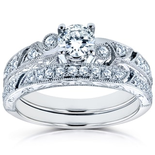 Annello by Kobelli 14k White Gold 3/4ct TDW Diamond Filigree Milgrain Bridal Rings Set (H
