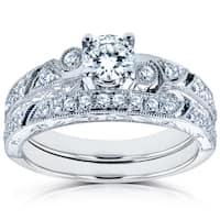 Annello by Kobelli 14k White Gold 3/4ct TDW Diamond Filigree Milgrain Bridal Rings Set