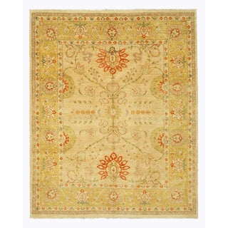 EORC Hand Knotted Wool Beige Peshawar Rug (8'2 x 10'3)