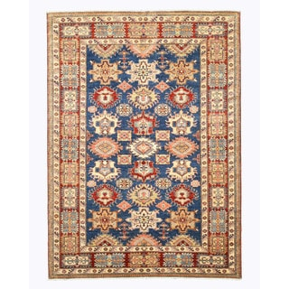EORC Hand Knotted Wool Blue Super Kazak Rug (6'2 x 8'6)