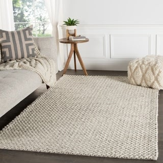 Contemporary Solid Pattern Ivory/Gray Wool Area Rug (9x12)