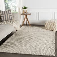 Thurstan Handmade Solid Gray/ White Area Rug (9' X 12')