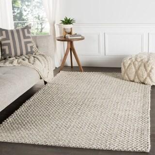 "Thurstan Handmade Solid Gray/ White Area Rug (9' X 12') - 8'10"" x 11'9"""