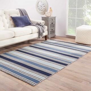 """Lancaster Handmade Stripe Blue/ White Area Rug (9'6"""" X 13'6"""")"""