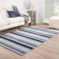 "Lancaster Handmade Stripe Blue/ White Area Rug (9'6"" X 13'6"") - 10' x 14'"