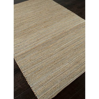 "Solis Natural Solid Beige/ Blue Area Rug (9'6"" x 13'6"")"