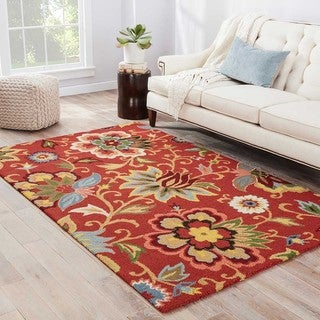 Contemporary Floral & Leaves Pattern Red/Blue Wool Area Rug (9x12)