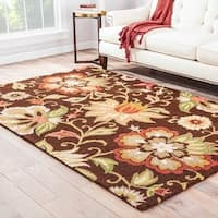 Santiago Handmade Floral Brown/ Multicolor Area Rug (9' X 12') - 9' x 12'