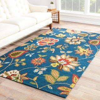 Contemporary Floral & Leaves Pattern Blue/Multi Wool Area Rug (9x12)
