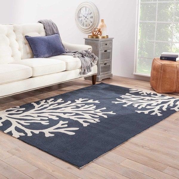 Havenside Home Saint Michaels Indoor/ Outdoor Floral Navy/ Cream Area Rug - 9' x 12'