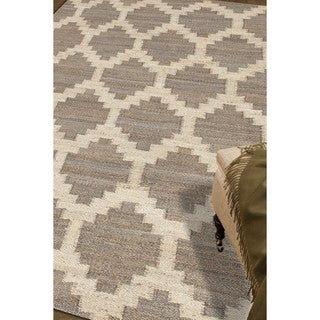 Damascus Natural Trellis Gray/ White Area Rug (9' X 12')