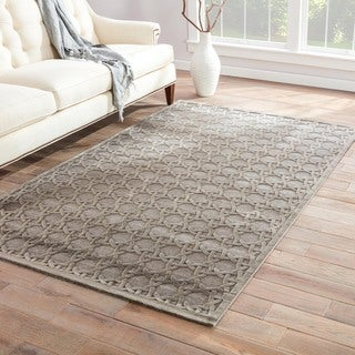 Contemporary Trellis, Chain And Tile Pattern Gray Rayon Chenille Area Rug (9.6x13.6)