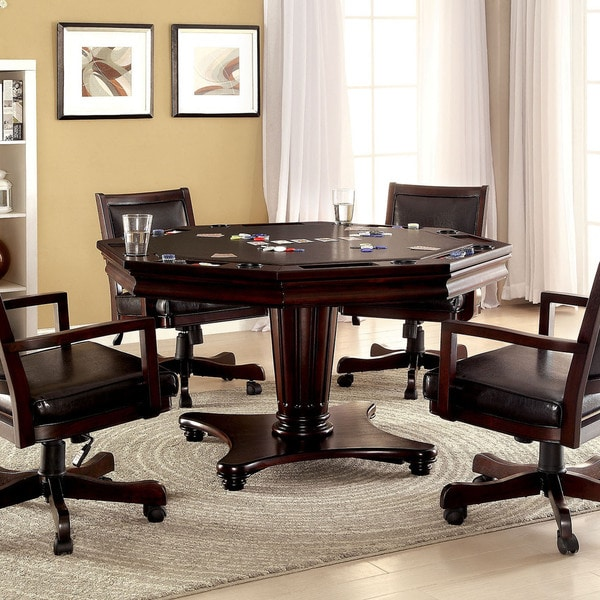 Furniture of America Karson 3-in-1 Dark Cherry Poker Game Table