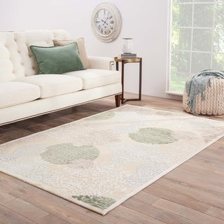 Contemporary Damask Pattern Ivory/Blue Rayon Chenille Area Rug (9.6x13.6)