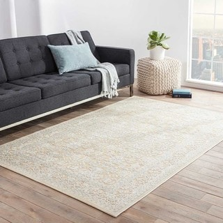 Contemporary Oriental Pattern Taupe/Ivory Rayon Chenille Area Rug (9.6x13.6)