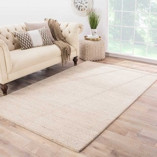 Solids Tribal Pattern Ivory/Taupe Wool Area Rug (9x12)