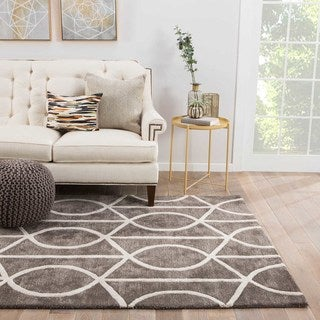 Contemporary Trellis, Chain And Tile Pattern Gray/White Wool and Art Silk Area Rug (9x12)