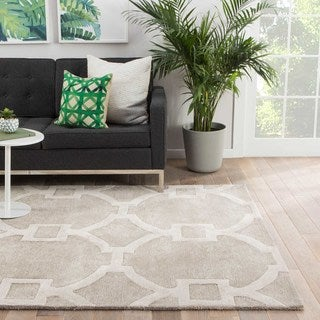 Contemporary Trellis, Chain And Tile Pattern Gray/Ivory Wool and Art Silk Area Rug (9x12)