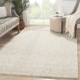 "Richmond Handmade Solid White/ Brown Area Rug (9'6"" X 13'6"") - 9'6"" x 13'6"""