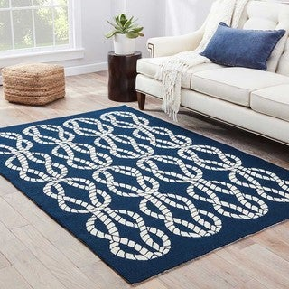 Catamaran Indoor/ Outdoor Abstract Navy/ White Area Rug (9' X 12')