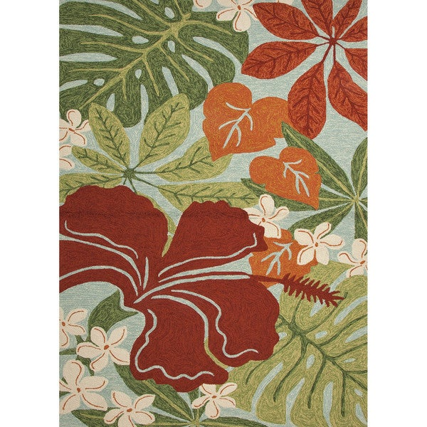 Indoor Outdoor Floral & Leaves Pattern Green Red