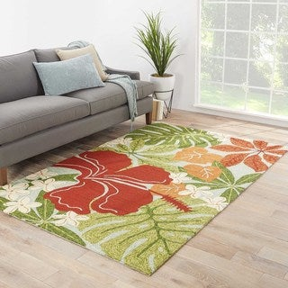 Indoor/Outdoor Floral & Leaves Pattern Green/Red Polypropylene Area Rug (9x12)