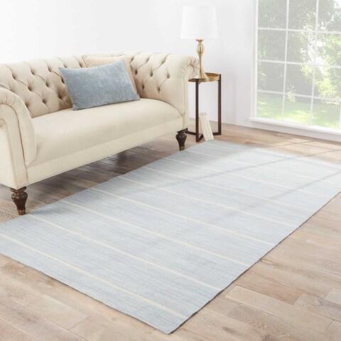 Byron Handmade Stripe Blue/ White Area Rug (10' X 14') - 10'x14'