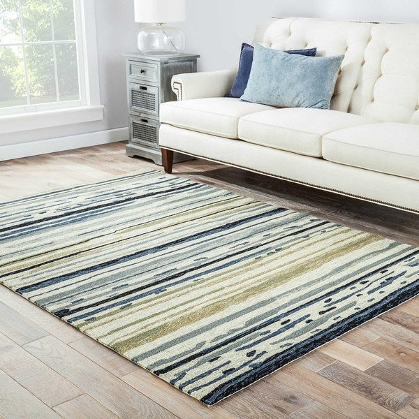 Havenside Home Provincetown Indoor/ Outdoor Abstract Silver/ Blue Area Rug