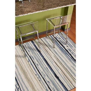 Indoor/Outdoor Coastal Pattern Ivory/Blue Polypropylene Area Rug (9x12)