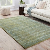 Kensington Handmade Solid Blue/ Green Area Rug (9' X 12')
