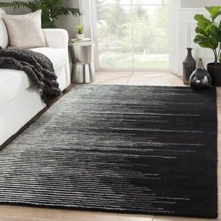 Sarafina Handmade Stripe Black/ Cream Area Rug (9' X 12')