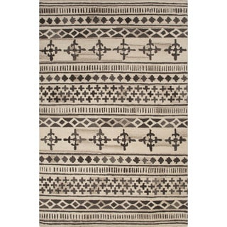 Contemporary Tribal Pattern Brown/Ivory Wool Area Rug (9x12)