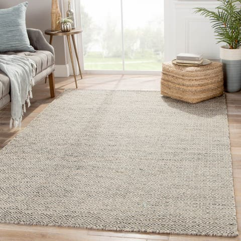 "Merit Natural Geometric Gray/ White Area Rug (9' X 12') - 8'10"" x 11'9"""